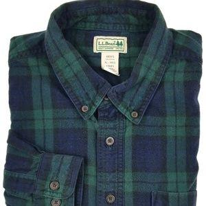 L. L. Bean Flannel Shirt Size XL Blue Green Plaid
